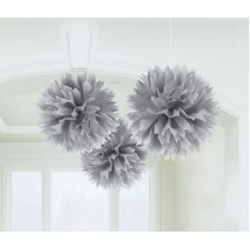 Silver Fluffy Tissue Hanging Decorations 40.6cm Pack of 3