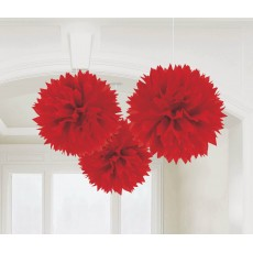 Apple Red Fluffy Tissue Hanging Decorations 40.6cm Pack of 3