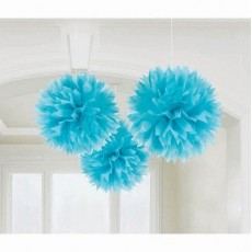 Caribbean Blue Fluffy Tissue Hanging Decorations 40.6cm Pack of 3