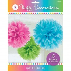 Multi Coloured Fluffy Hanging Decorations 40.6cm Pack of 3