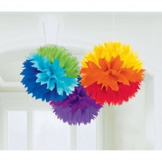 Rainbow Fluffy Tissue Hanging Decorations 40.6cm Pack of 3