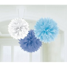 Baby Blue Fluffy Hanging Decorations 40cm Pack of 3
