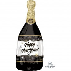SuperShape Champagne Bottle Happy New Year! Shaped Balloon 36cm x 91cm