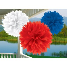 USA Red, White & Blue Patriotic Fluffy Tissue Hanging Decorations