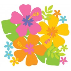 Hawaiian Party Decorations Hibiscus Flowers 26.6cm Cutouts