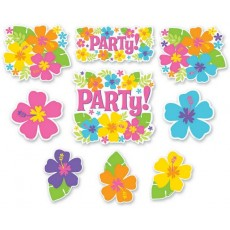 Hawaiian Party Decorations Hibiscus Flowers Cutouts