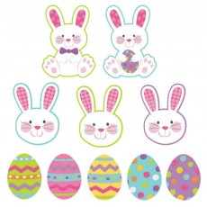 Easter Mini Eggs & Bunnies Glittered Cutouts