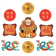 Chinese New Year Glitter Cutouts Pack of 9