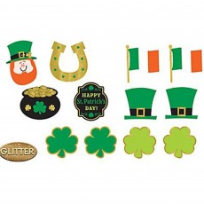St Patrick's day Assorted Glittered Cutouts Pack of 12