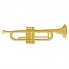 Gold Glittered 3D Trumpet Plastic Misc Decoration