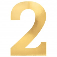 Number 2 Party Decorations - Cutouts Small Foil Board Gold 23cm