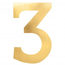 Number 3 Gold Small Foil Board Cutouts