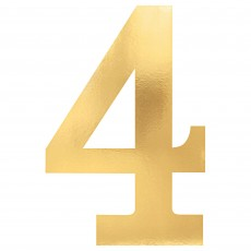 Number 4 Gold Small Foil Board Cutouts