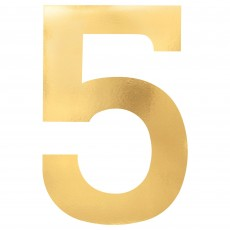 Number 5 Party Decorations - Cutouts Small Foil Board Gold 23cm