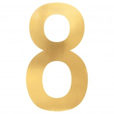 Number 8 Party Decorations - Cutouts Small Foil Board Gold 23cm