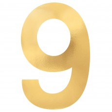 Number 9 Gold Small Foil Board Cutouts