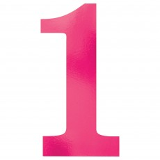 Number 1 Pink Small Foil Board Cutouts
