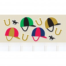 Horse Racing Derby Day Jockey Helmets, Horseshoes & Horses Cutouts Pack of 10