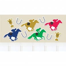 Horse Racing Derby Day Jockey Helmets, Horseshoes & Trophies Cutouts Pack of 10