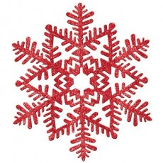 Christmas Red Glittered Snowflake Hanging Decoration