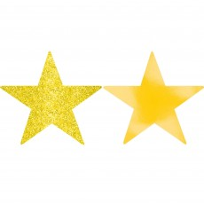 Sunshine Yellow Solid Star Foil & Glitter Cutouts 12cm Pack of 5