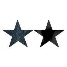Black Solid Star Cutouts 12cm Pack of 5