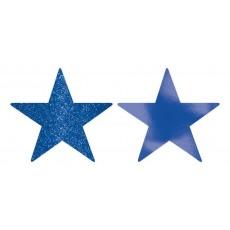 Bright Royal Blue Foil & Glitter Star Cutouts 12cm Pack of 5