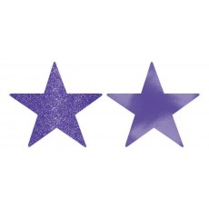 Purple New Solid Foil & Glitter Star Cutouts