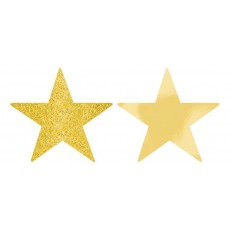Gold Solid Star Cutouts 12cm Pack of 5
