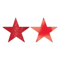 Apple Red Solid Star Cutouts 12cm Pack of 5