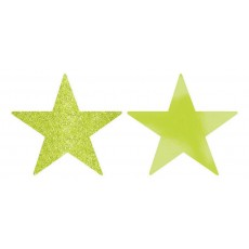 Kiwi Green Solid Star Cutouts 12cm Pack of 5