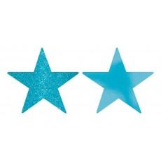 Caribbean Blue Foil & Glitter Star Cutouts 12cm Pack of 5