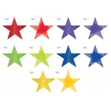 Rainbow Solid Star Foil & Glitter Cutouts 12cm Pack of 5