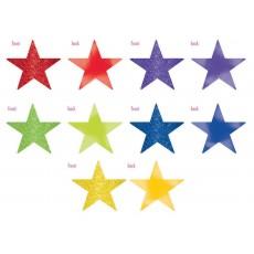 Rainbow Solid Star Foil & Glitter Cutouts