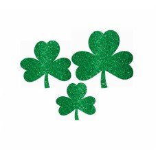 St Patrick's day Mini Assorted Shamrock Glittered Cutouts
