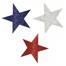 USA Patriotic Mini Glittered Star Cutouts Pack of 10