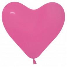 Heart Fashion Fuchsia Magenta Latex Balloons 28cm Pack of 12