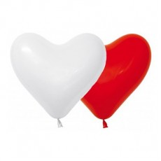 Valentine's Day Red & White Hearts Latex Balloons