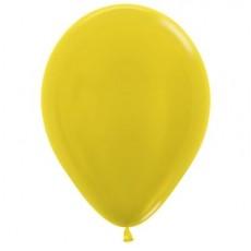 Teardrop Metallic Yellow Latex Balloons 30cm Pack of 100