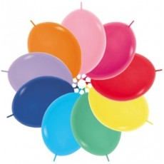 Fashion Multi Coloured Link O Loon Latex Balloons 28cm Pack of 25