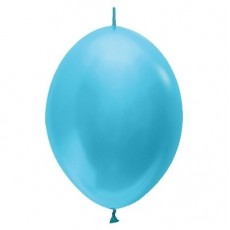Satin Pearl Caribbean Blue Link O Loon Latex Balloons 28cm Pack of 25