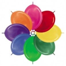 Metallic Multi Coloured Link O Loon Latex Balloons 28cm Pack of 25
