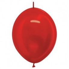 Metallic Red Link O Loon Latex Balloons 28cm Pack of 25