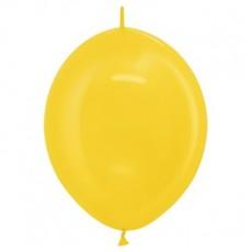 Metallic Yellow Link O Loon Latex Balloons 28cm Pack of 25