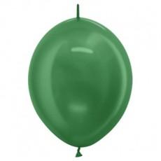 Metallic Green Link O Loon Latex Balloons 28cm Pack of 25