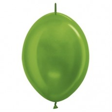Metallic Lime Green Link O Loon Latex Balloons 28cm Pack of 25