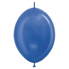 Metallic Blue Link O Loon Latex Balloons 28cm Pack of 25