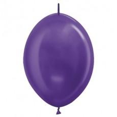 Metallic Purple Violet Link O Loon Latex Balloons 28cm Pack of 25