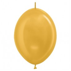 Metallic Gold Link O Loon Latex Balloons 28cm Pack of 25