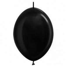 Metallic Black Link O Loon Latex Balloons 28cm Pack of 25